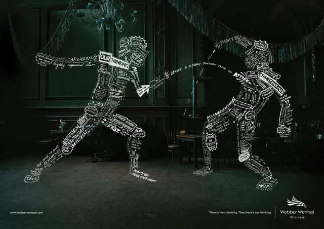 Fencer typography in advertising