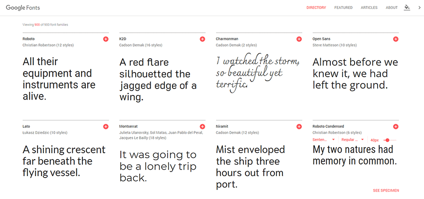 Google Fonts home page