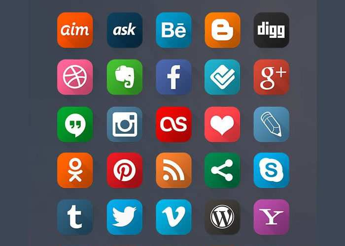 Free Long Shadow Social Media Icons (60 Icons, Photoshop PSD)