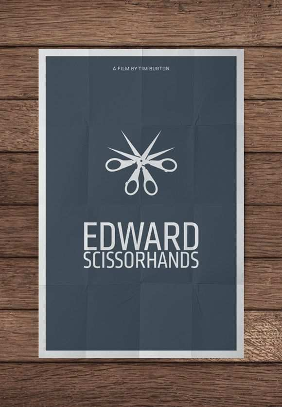 creative minimal poster of the Edward Scissorhands film
