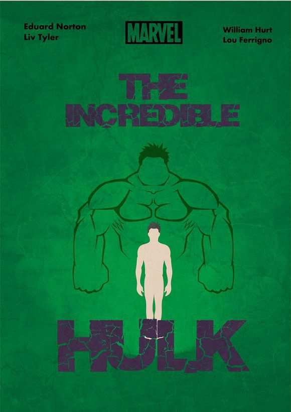 creative minimal poster of the The Incredible Hulk film