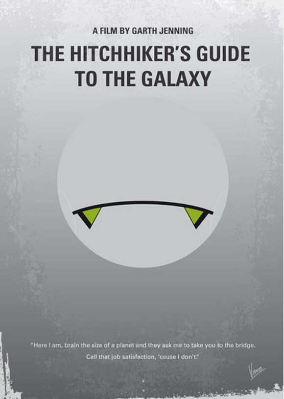 creative minimal poster of the The Hitchhiker's Guide to the Galaxy movie