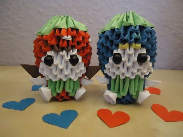 papercraft inspiration example 3D Origami - Strawberry Girl and Blueberry Boy