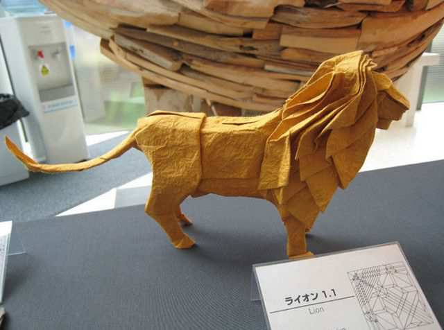 papercraft inspiration example Origami Lion by Satoshi Kamiya
