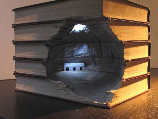 papercraft inspiration example Landscape Carved into Book