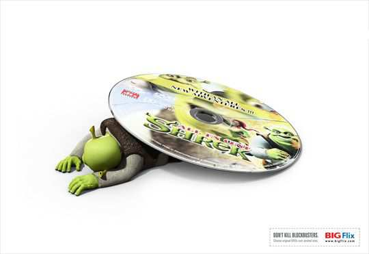 Print Ad - Shrek Under Pirated DVD