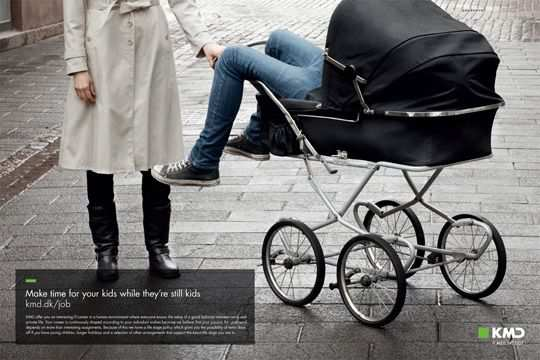 Print Ad - Grown Man on a Baby Carriage
