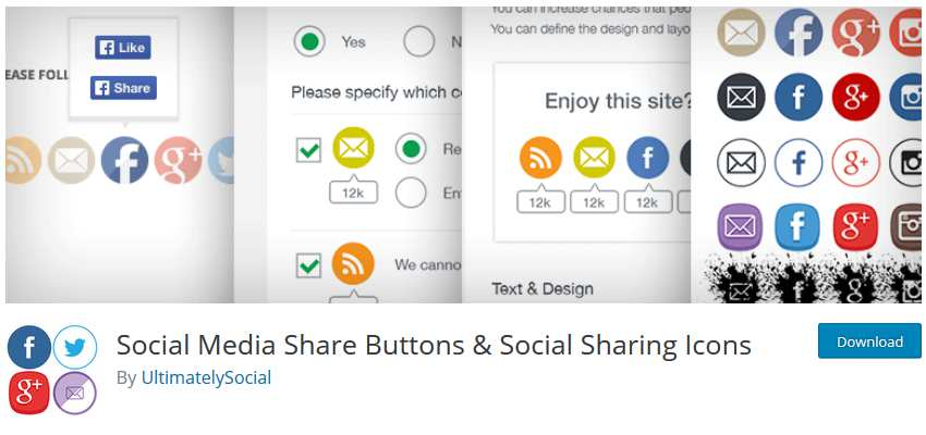 Social Media Share Buttons wordpress php