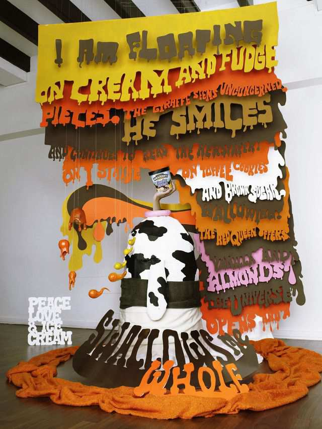 The Ben & Jerry's: Giraffe as an example of inspirational typography example in print ads