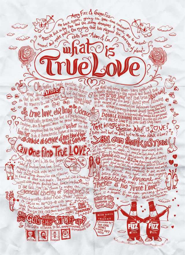 The Appy Fizz, Grappo Fizz: True Love as an example of inspirational typography example in print ads
