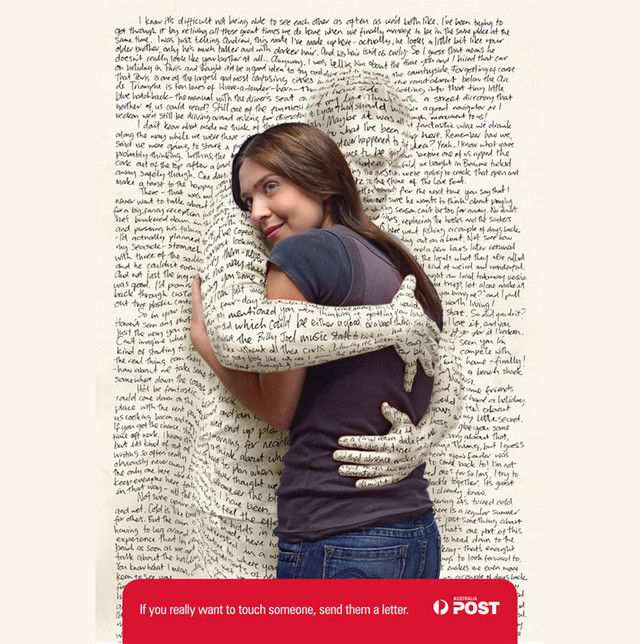 The Australia Post: Hug as an example of inspirational typography example in print ads