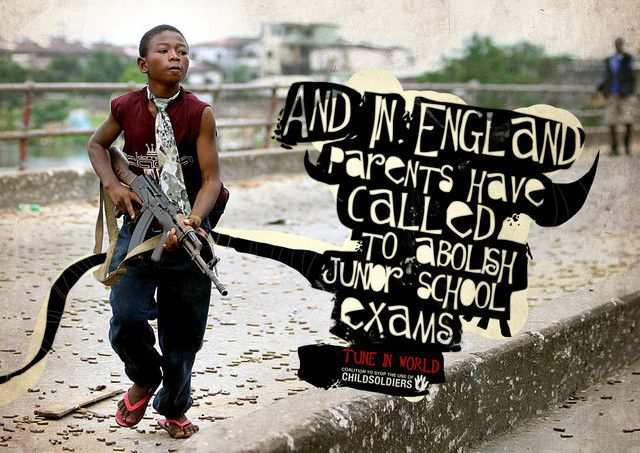 The Coalition to Stop the Use of Child Soldiers: England as an example of inspirational typography example in print ads