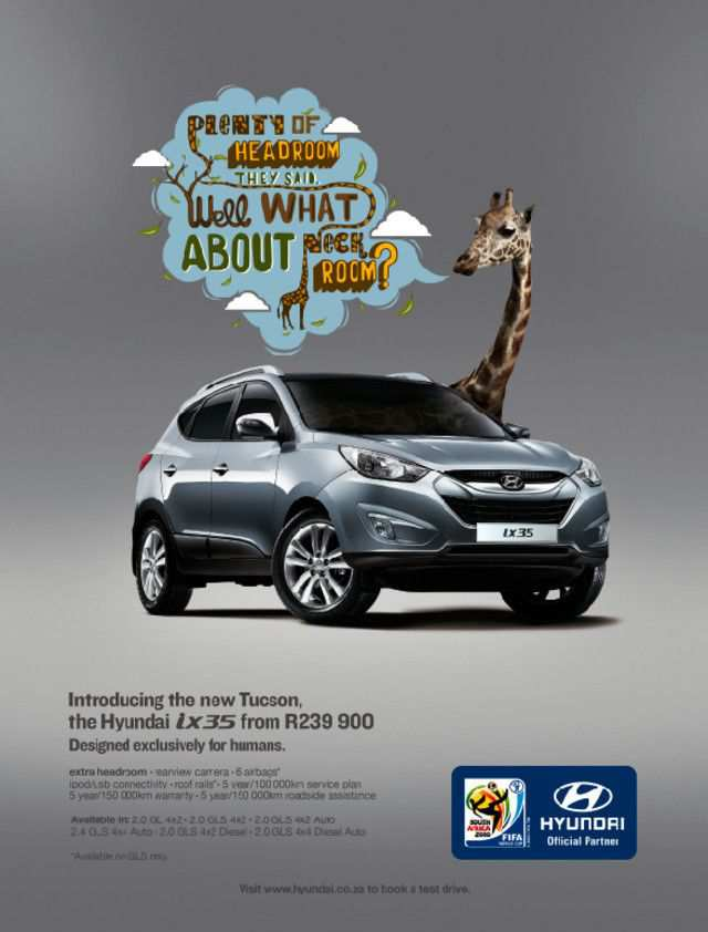 The Hyundai - Designed for Humans as an example of inspirational typography example in print ads