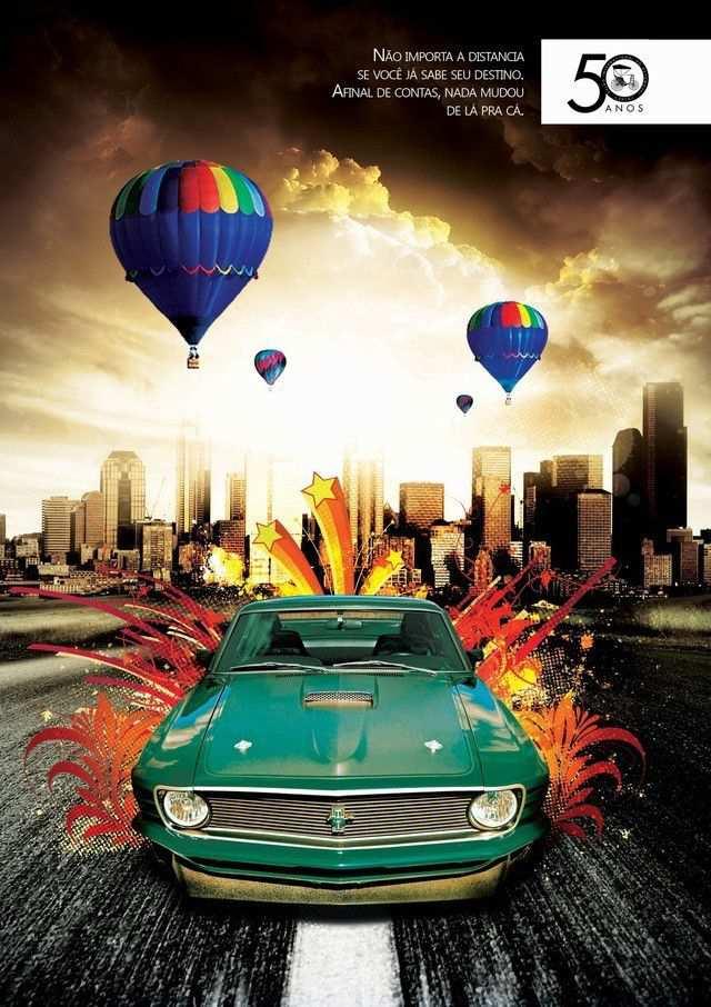 vintage poster advertisment design Salão do Automóvel