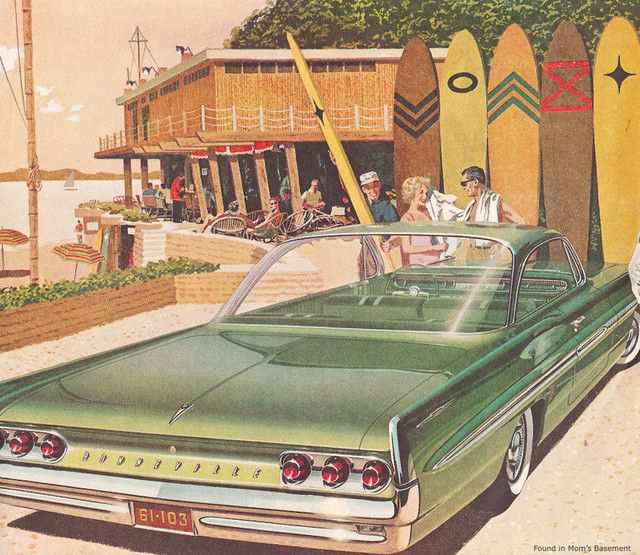 vintage poster advertisment design Pontiac Bonneville