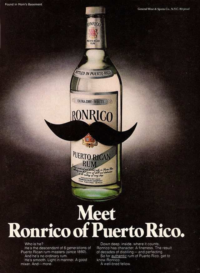 vintage poster advertisment design Ronrico rum ad