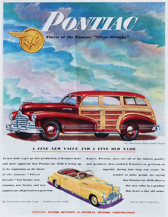 vintage poster advertisment design Post-War Pontiacs