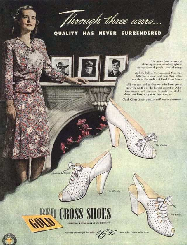 vintage poster advertisment design Ad for Red Cross shoes 1944