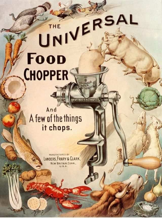 vintage poster advertisment design Vintage ad: Universal Food Chopper, from 1890s