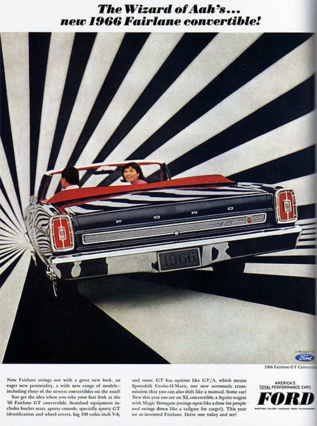 vintage poster advertisment design Ford Fairlane Convertible (USA)