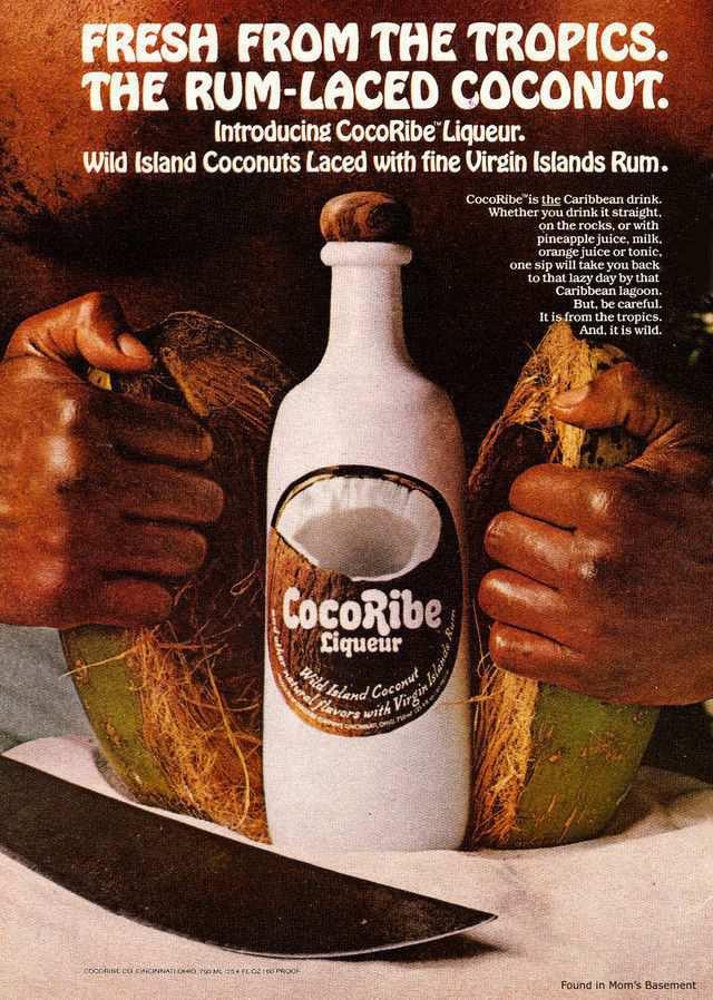 vintage poster advertisment design CocoRibe liqueur