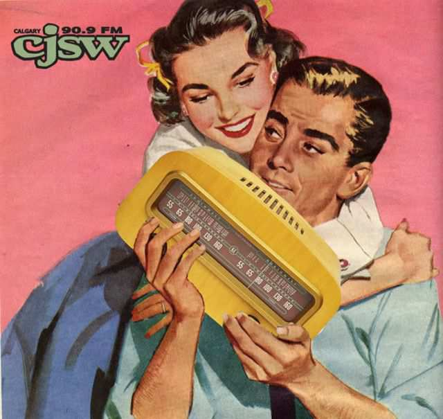 vintage poster advertisment design CJSW vintage radio ad