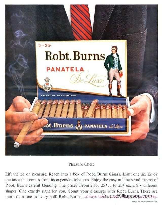 vintage poster advertisment design Robt. Burns Panatela