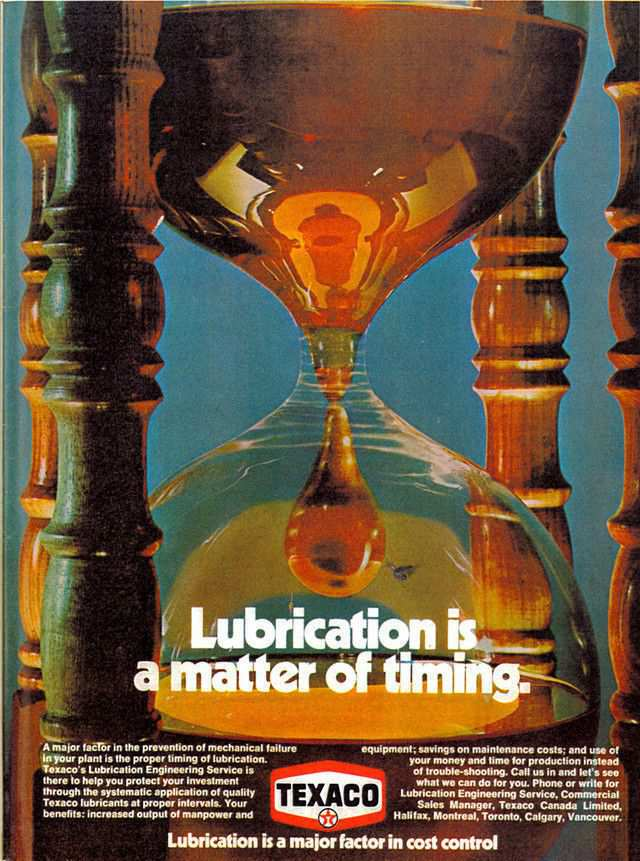 vintage poster advertisment design Lubrication is a matter of timing