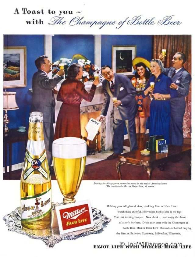vintage poster advertisment design Miller High Life – 19490307 Life