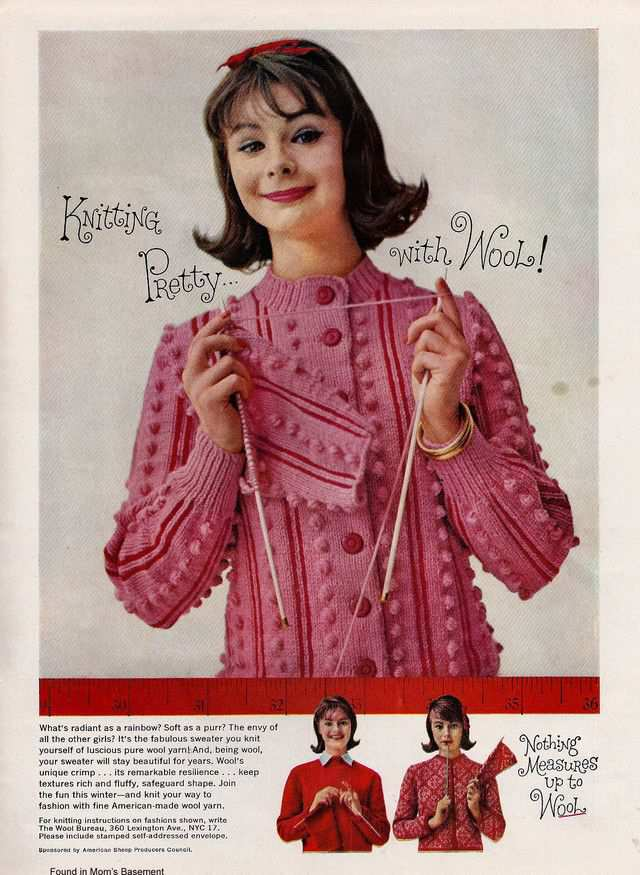 vintage poster advertisment design Cute 1959 ad for knitting wool