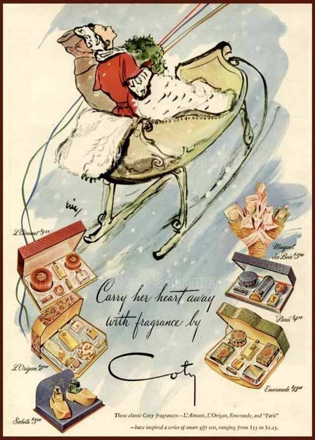 vintage poster advertisment design 1944 ad for Coty fragrances