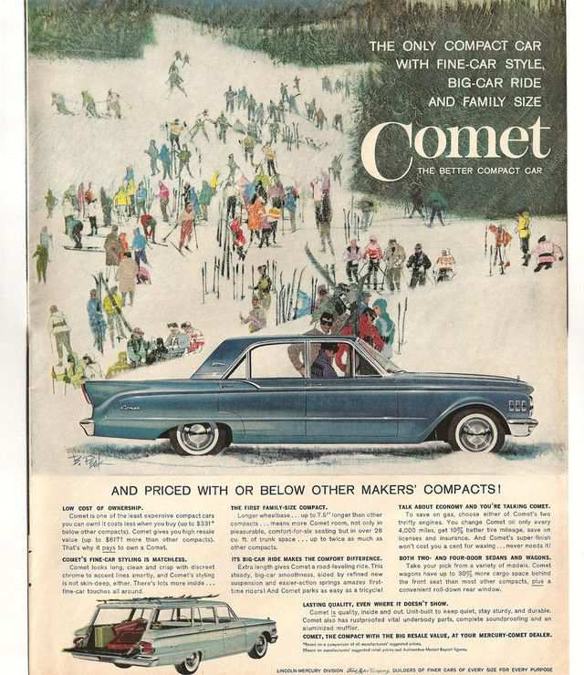 vintage poster advertisment design Mercury Comet
