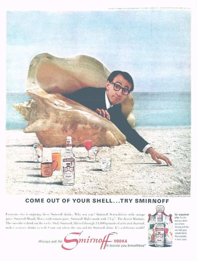 vintage poster advertisment design Woody Allen's Vodka Ad, circa 1966