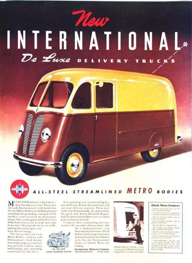 vintage poster advertisment design International De Luxe Delivery Trucks