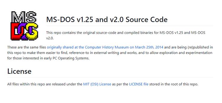 MS-DOS v1.25 and v2.0 Source Code