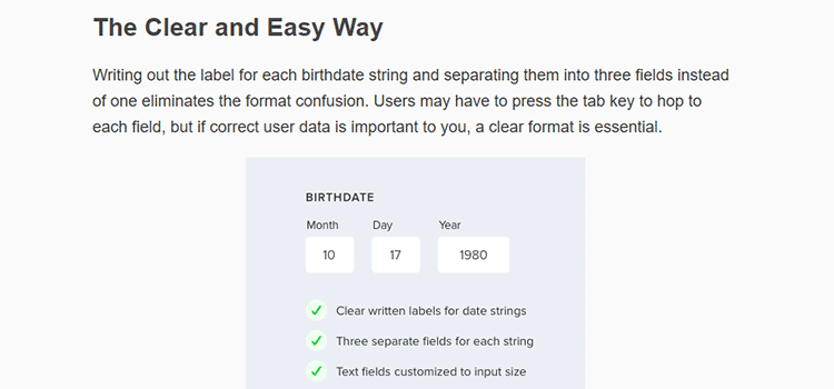 Bad Practices on Birthdate Form Fields