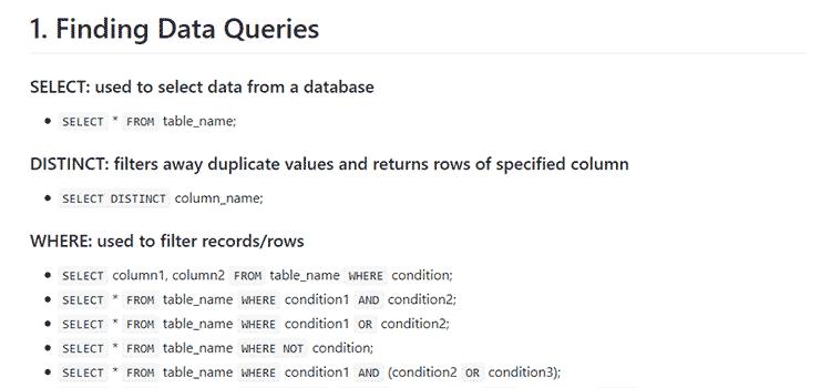 Quick SQL Cheatsheet