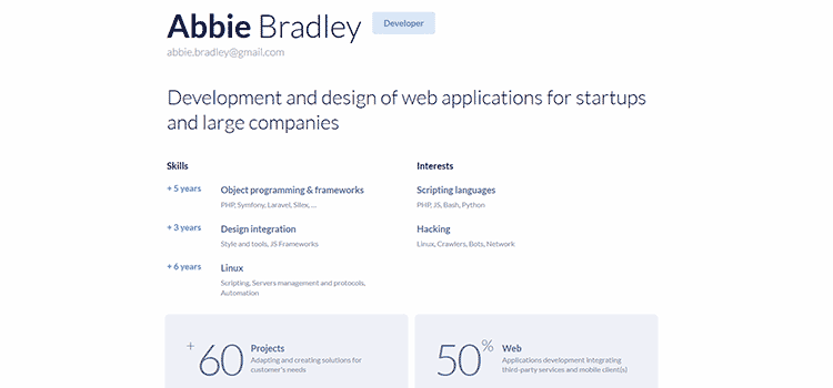 Minimal HTML & CSS Resume Template freebie