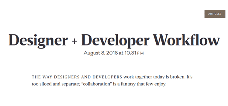 Designer + Developer Workflow