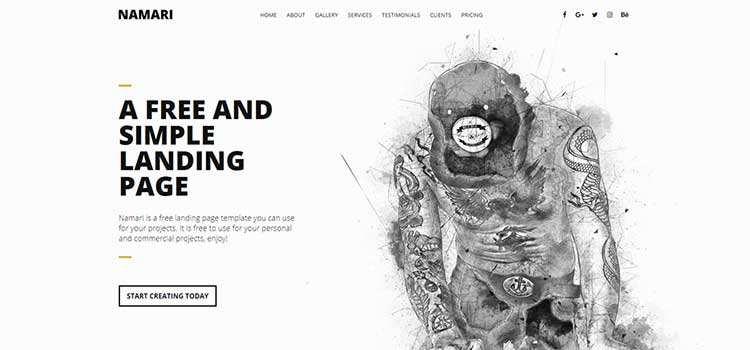 Namari Landing Page Template