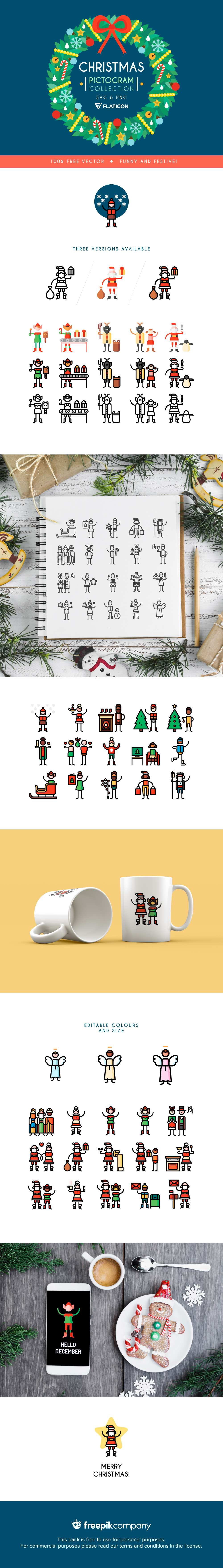 The Christmas Pictogram Collection AI free icon set festive winter celebrate svg illustrator adobe