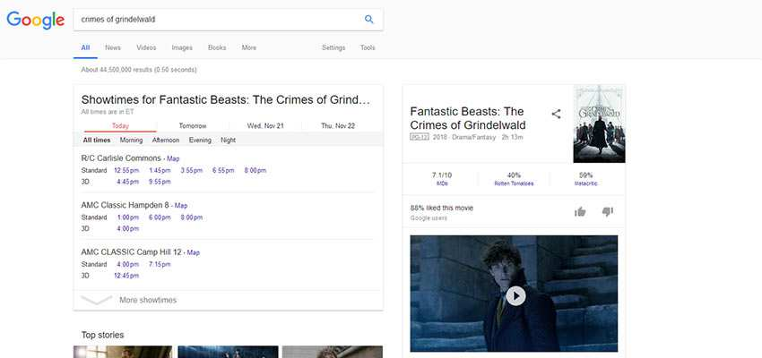 Example of structured data in Google search results.