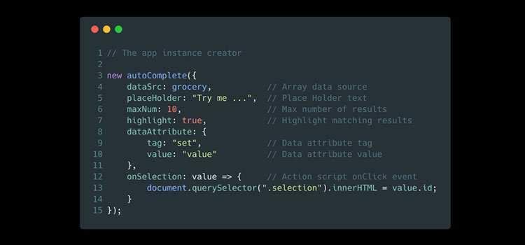 A simple autocomplete pure vanilla Javascript library from Tarek Raafat