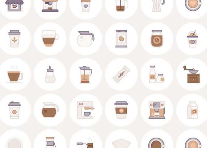 Free Barista & Coffee Lover Flat Line Icon Set (AI, EPS, SVG & PNG)