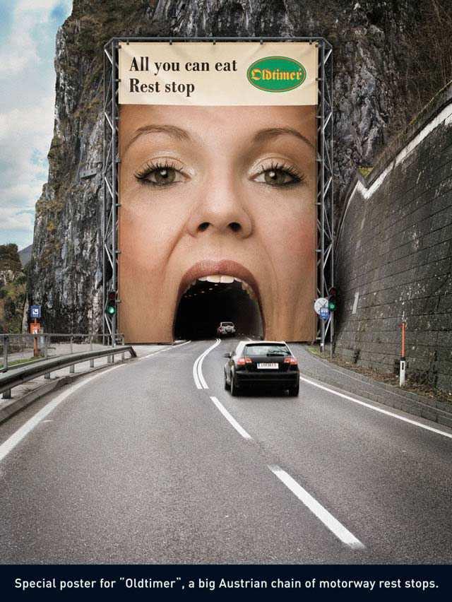 creative advertising billboard design  Old Timer Restaurants
