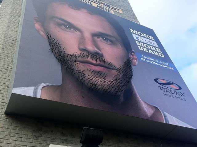 creative advertising billboard design  Beard Growing Billboard