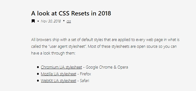 A look at CSS Resets in 2018