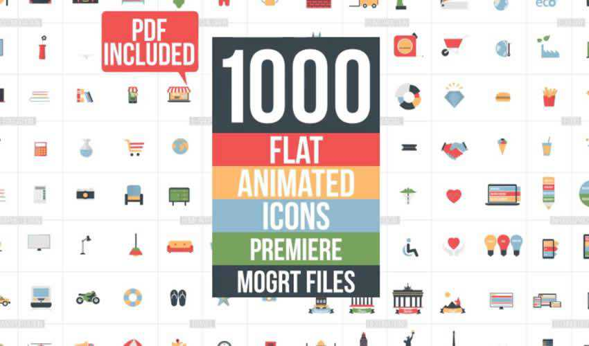 Flat Animated Icons Library Essential ae adobe after effects template motion design project files video movie icon animation type