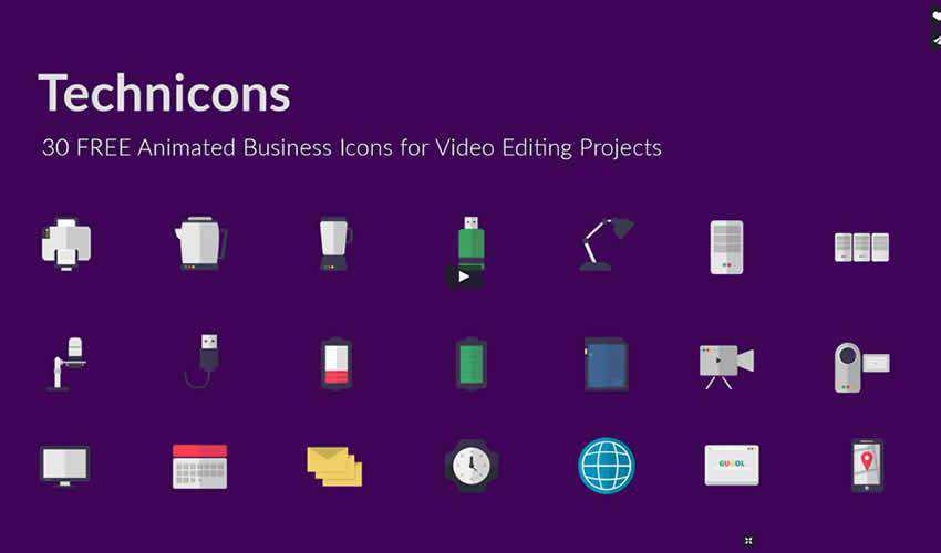 Technicons Animated Business ae adobe after effects template motion design project files video movie icon animation type free