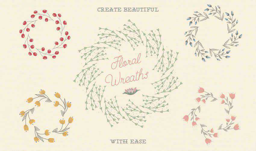 Floral Pattern adobe illustrator brush brushes abr pack set free